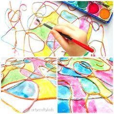 http://www.artycraftykids.com/art/watercolour-yarn-kids-process-art/