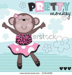 ballerina monkey vector illustration - stock vector