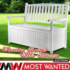 White Wooden 2 Seats Garden Storage Bench Outdoor Patio Wood Furniture 360kg Max in Garden u0026  sc 1 st  Pinterest & Suncast Patio Resin Storage Bench | Storage benches Resin and Bench