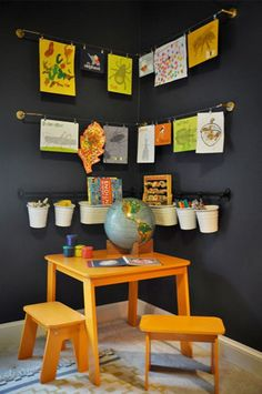Reward creativity and keep those mini masterpieces from piling up with these ideas for creating a beautiful place to display all of your kid's artwork.