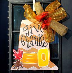 Door Hanger: Thanksgiving, Pilgrim Decor, Door Decor, Thanksgiving Decor, Door Decoration  Chevron Pilgrim Hat with fall leaves! Measures 26 x 22