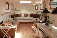 Vacation Rentals, Homes, Experiences & Places - Airbnb,Spacious and light living. Barge Interior, Boat Interior, Interior And Exterior, Small Space Living, Living Area, Small Spaces, Luxury Houseboats, Amsterdam, Dutch Barge