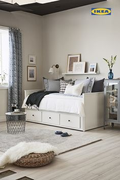 You're not dreaming. The IKEA Bedroom Event is on now until June Get . You're not dreaming. The IKEA Bedroom Event is on now until June Get … You're not dreaming. The IKEA Bedroom Event is on now until June Get off all bed frames. Ikea Daybed, Daybed Room, Ikea Beds, Daybed Bedding, Bedding Sets, Bedroom Furniture, Bedroom Decor, Furniture Storage, Hemnes Ikea Bedroom