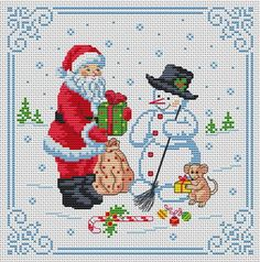 christmas Christmas frame in cross stitch Santa Cross Stitch, Cross Stitch Baby, Cross Stitch Charts, Cross Stitch Patterns, Loom Patterns, Christmas Charts, Christmas Cross, Father Christmas, Christmas Snowman