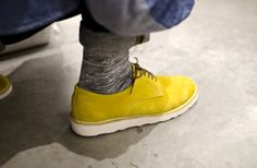 Deep Search yellow suede oxfords with Vibram sole