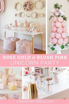 Rose Gold & Blush Pink Unicorn Party via Kara Gold Birthday Party, Birthday Table, Gold Party, Unicorn Birthday Parties, Unicorn Party Decor, 19th Birthday, Birthday Ideas, Gold Confetti Balloons, Unicorn Baby Shower