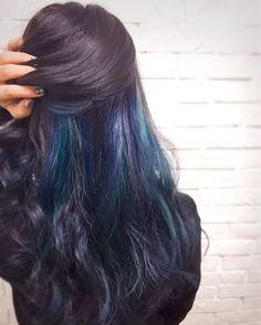 WEBSTA @ kanael_109 - お久しぶりに色入れちった☆*:私の期待以上に綺麗になった\♥/お兄ちゃんの結婚式仕様blue×purple×greenのメッシュ✧*。.....#hairsalon #F #shibuya#newhair #haircolor#manicpanic #マニパニ#髪色 #メッシュカラー