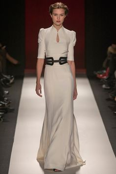 Modest Satin wedding dress, 3/4 sleeves keyhole neckCarolina Herrera Fall 2013 RTW