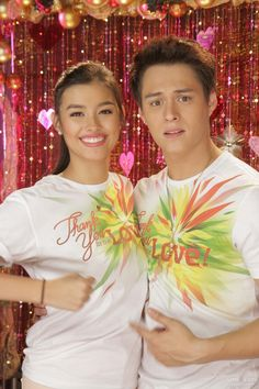 "This is Liza Soberano and Enrique Gil smiling and posing for the camera during the recording of the 2015 ABS-CBN Christmas station ID theme song, ""Thank You for the Love!"""