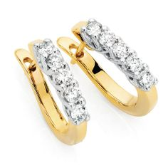 Awesome Hoop Earrings With Carat Tw Of Diamonds In Yellow White Gold By Michael Hill