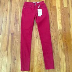 High Waist Maroon Jeans Size 0, new with tags Blue Spruce  Pants Skinny