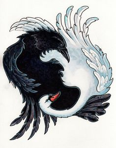 The Raven And The Swan Painting by Christine Karron