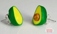Food Jewelry Avocado Stud Earrings Avacado Mini by CustomCharmFarm