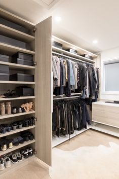 Utilizing high and low hanging storage to maximize the available space. Planning room for all of the gorgeous Chanel clothing, jewelry, and shoes. Even room for an orchid and a dog bed. Walk In Closet Design, Bedroom Closet Design, Closet Designs, Chanel Clothing, California Closets, Chanel Outfit, Hanging Storage, Dog Bed, Orchid