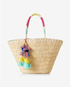 be8b0a6148 Express color block straw tote  affiliate Beach Basket