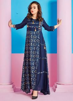 Buy Blue Cotton Rayon Dress online, SKU Code: IWDSPRM8606. This Blue color After Six dresses and gown for Women comes with Printed Blended Cotton. Shop Now!