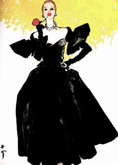 Week 2 colored pencils historical fashion illustrator is Rene Gruau illustration for Christian Dior, Classical silhouette. A contrast is created between the solid black dress and the mid yellow partially colored at the top. Fashion Illustration Techniques, Illustration Mode, Fashion Illustration Sketches, Fashion Sketches, Fashion Drawings, Lanvin, Balenciaga, Givenchy, Jacques Fath