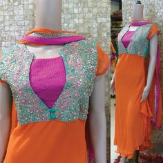 Colors & Crafts Boutique™ offers unique apparel and jewelry to women who value versatility, style and comfort. For inquiries: Call/Text/Whatsapp Salwar Neck Designs, Kurta Neck Design, Neckline Designs, Blouse Designs, Dress Designs, Indian Designer Outfits, Designer Dresses, Designer Kurtis, Indian Dresses