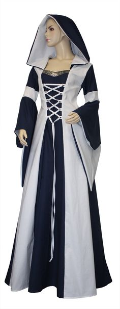 Robe Médiévale Minna en bleu et blanc 34 Renaissance Dresses, Renaissance Fashion, Medieval Clothing, Masquerade Gown, Celtic Dress, Costumes Couture, Cosplay Diy, Vintage Costumes, Beautiful Dresses