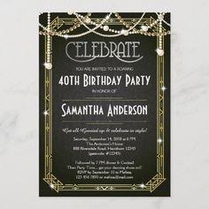 Great Gatsby Birthday invitation / Art Deco invite Art Deco Invitations, 40th Birthday Invitations, 40th Birthday Parties, Bridal Shower Invitations, Surprise Birthday, Birthday Ideas, Birthday Gifts, Disney Birthday, Birthday Stuff