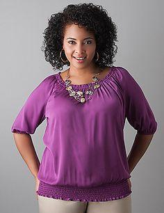Elbow sleeve peasant blouse