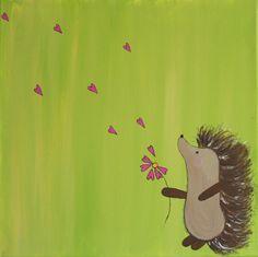 Original 12 x 12 inch Hedgehog painting titled Spread Love NURSERY ART BABY shower gift canvas. $18.00, via Etsy.