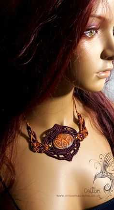 Micro - macrame necklace *MYSTIC LOTUS* with handmade Polymer clay cabochon. Lotus, Yoga, Meditation. India choker. Mystical lotus flower. - pinned by pin4etsy.com