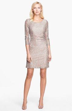 Tahari Metallic Lace Sheath Dress (Regular & Petite)