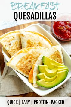 Breakfast quesadillas are ridiculously tasty and easy to make! Eggs and cheese are folded into a flour tortilla that's crisped to perfection - all in just one skillet!