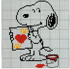 all snoopy and peanuts Cross Stitch Fairy, Counted Cross Stitch Patterns, Cross Stitch Designs, Cross Stitch Embroidery, Snoopy Valentine, Valentine Heart, Stitch Character, Stitch Cartoon, Art Textile