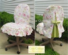 Shabby chic chair cover...sweet.