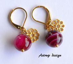 Pink/l red,  gold earrings from Lisa Astrup Art & craft by DaWanda.com