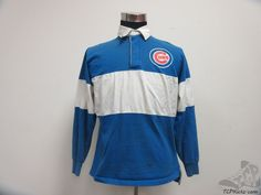 Vtg 80s 90s Logo 7 Chicago Cubs Long Sleeve Rugby Polo Shirt sz L Large MLB NL #Logo7 #ChicagoCubs #tcpkickz