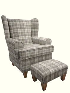 LATTE TARTAN FABRIC WINGED BACK CHAIR/ FIRESIDE CHAIR WITH MATCHING FOOTSTOOL in Home, Furniture & DIY, Furniture, Sofas, Armchairs & Suites | eBay