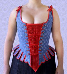 century stays and stomacher made made from blue shweshwe and red taffeta. Wonderful front laced stays by minkipool African Fabric, African Dress, Seshweshwe Dresses, Corset Sewing Pattern, 18th Century Stays, Renaissance Costume, Renaissance Era, 18th Century Fashion, Textiles