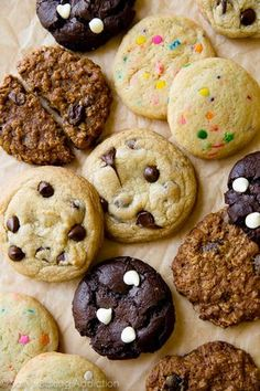 Here are 4 basic cookie doughs to master! Chocolate chip cookies, fudgy chocolate cookies, sugar cookies, and the best oatmeal cookies! sallysbakingaddiction.com