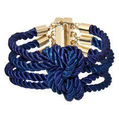 navy knotted bracelet.
