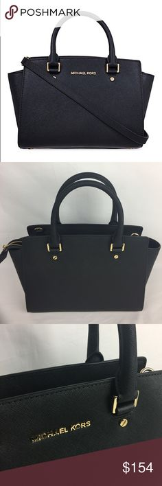 """MICHAEL KORS Selma Saffiano Leather Medium Satchel Brand new. No tag but does include care card.   Carry it at the crook of the arm for a major statement, or across the chest as a carefree crossbody.  -100% Cow Leather -Top Handle: 4.5"""" -Adjustable Strap: 17.5-19.5"""" -Interior: One Inside Zip Pocket, Two Open Inside Pockets -13 X 8 X 4"""" -Top Zip Michael Kors Bags Satchels"""