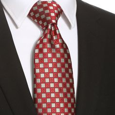 This red gray checkered extra long tie would be perfect for any formal or casual occasion. Extra Long Ties, Men's Wardrobe, Tall Guys, Gray, Grey
