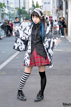 "Pandas EVERYWHERE !!! LOVE the 3-eyed Kumā (クマー | Bear) charm that's attached to her traditional Japanese school bag (ランドセル | Randoseru) http://tokyofashion.com/wp-content/uploads/2016/07/ACDC-Rag-Harajuku-Panda-Girl-20160515D504477.jpg ... Narumi, 19 years old, singer/idol for the group: ""81moment【8/1渋谷womb】"" https://twitter.com/81moment 
