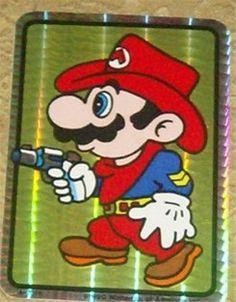 Vintage 1989 Nintendo Mario Brothers Large Shiny Sticker Cowboy Mario $5