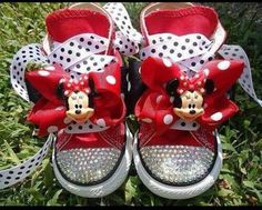 Jamie Warmanberg posted MINNIE MOUSE CONVERSE Shoes - Swarovski crystals - Red Converse hi tops - ETSY to his -Theme parks i love- postboard via the Juxtapost bookmarklet. Minnie Mouse Converse, Mickey Y Minnie, Minnie Mouse Party, Bling Converse, Bling Shoes, Converse Shoes, Baby Converse, Bedazzled Shoes, Red Chucks
