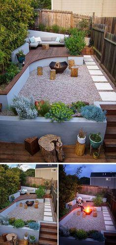 Mooi tuinontwerp met verschillende niveau's