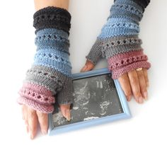 Gloves – Knitted Striped gloves, Fingerless Hand Warmers. – a unique product by GlovesAndMittens on DaWanda