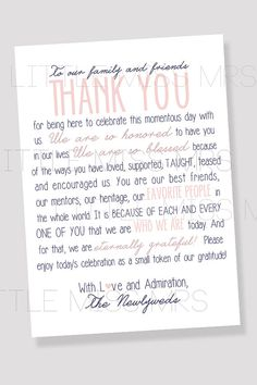 Wedding Thank You Note For Guests Printable File  Calligraphy