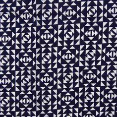 Print Cotton Lawn Design 39 Geometric Navy Cream 150cm