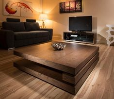 Ordinaire Coffee Table Option Lounge A Or B: Extra Large Modern Square Dark Elm Brown Wood  Coffee Table