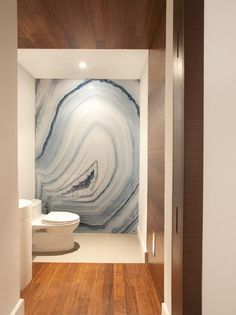 Agate Wallpaper - Gorgeous!   18 Gorgeous Ways to Use Wallpaper in Your Bathroom via Brit + Co.