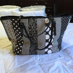 "Large black & white design tote bag Very cute tote bag, various designs to create a cute handbag, worn twice, measurements are 19""13""8 Bags Totes"