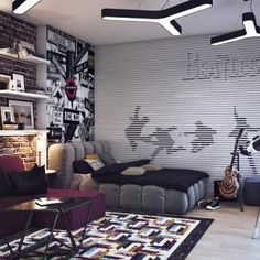 Fantastic Teenage Boys Room With Gorgeous Decor With Beatles Theme And Exposed Brick Wall Also Guitar And Telescope a part of Fantastic Teenage Boys Room With Gorgeous Decor With Beatles Theme And Exposed Brick Wall Also Guitar And Telescope under Bedroom